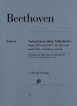 Henle Verlag Beethoven, L. van | Variaties op volksliedjes op. 105 and 107 voor piano en fluit (Viool) ad lib.