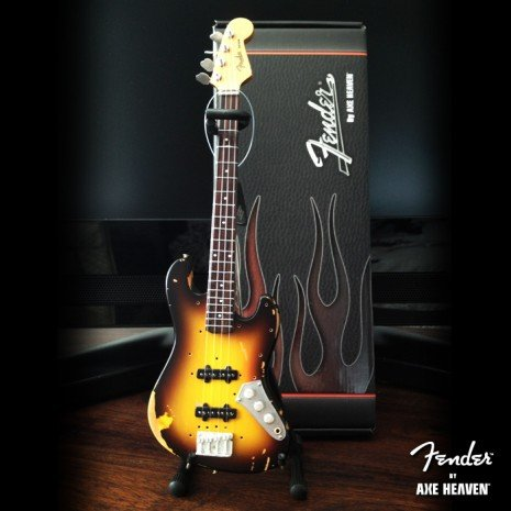 Axe Heaven Axe Heaven miniatuur gitaar | Sunburst Fender™ Jazz Bass™ Guitar | Distressed & vintage Relic