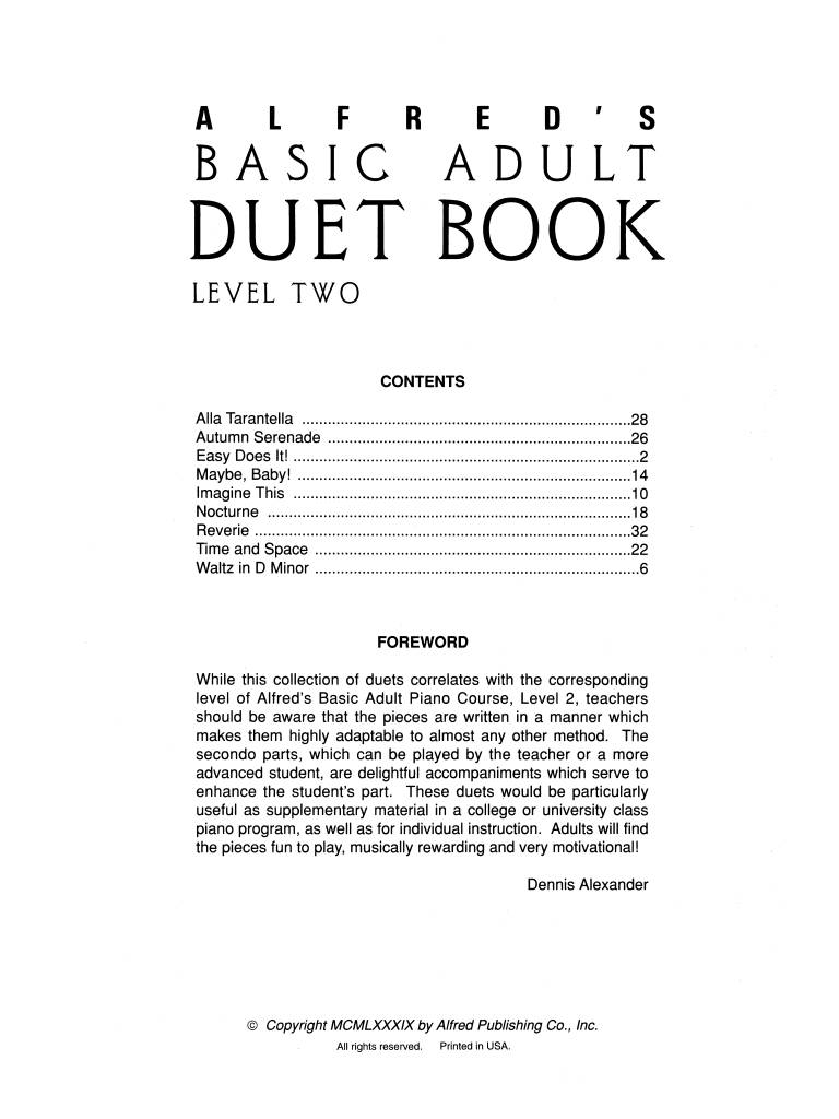 Alfred Alfred's Basic Adult Piano Course   Duet Book 2