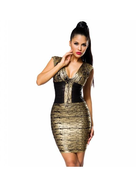 AX Luxus Bandage Shape Kleid Caren Gold