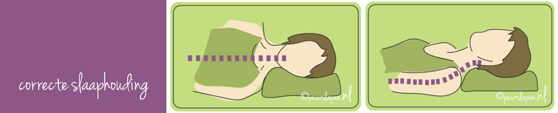 slaaphouding, door hoofdkussen en matras, correct