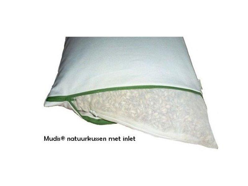 Mudis Mudis® lees- & steunkussen met diverse kussenvullingen, inclusief kussensloop-ecru. Afmetingen 25x50.