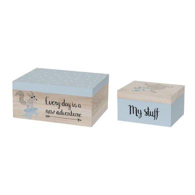 Bloomingville mini Bloomingville Mini set van 2 opbergdoosjes blauw