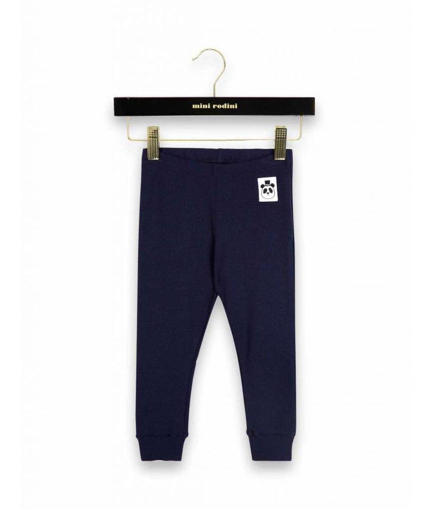 Mini Rodini Solid Rib Leggings - Dark Blue