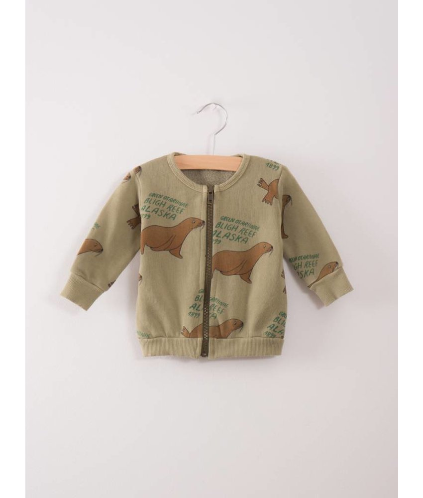 Bobo Choses Baby zip Sweatshirt Green Otariinae AO