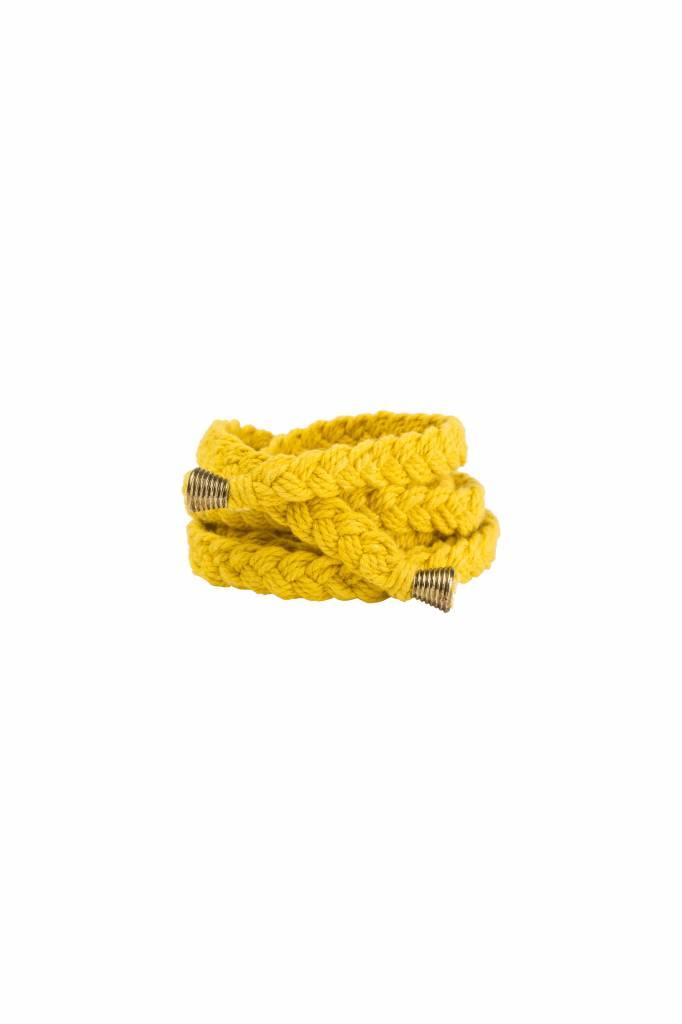 By Bar Braided Belt - Yellow
