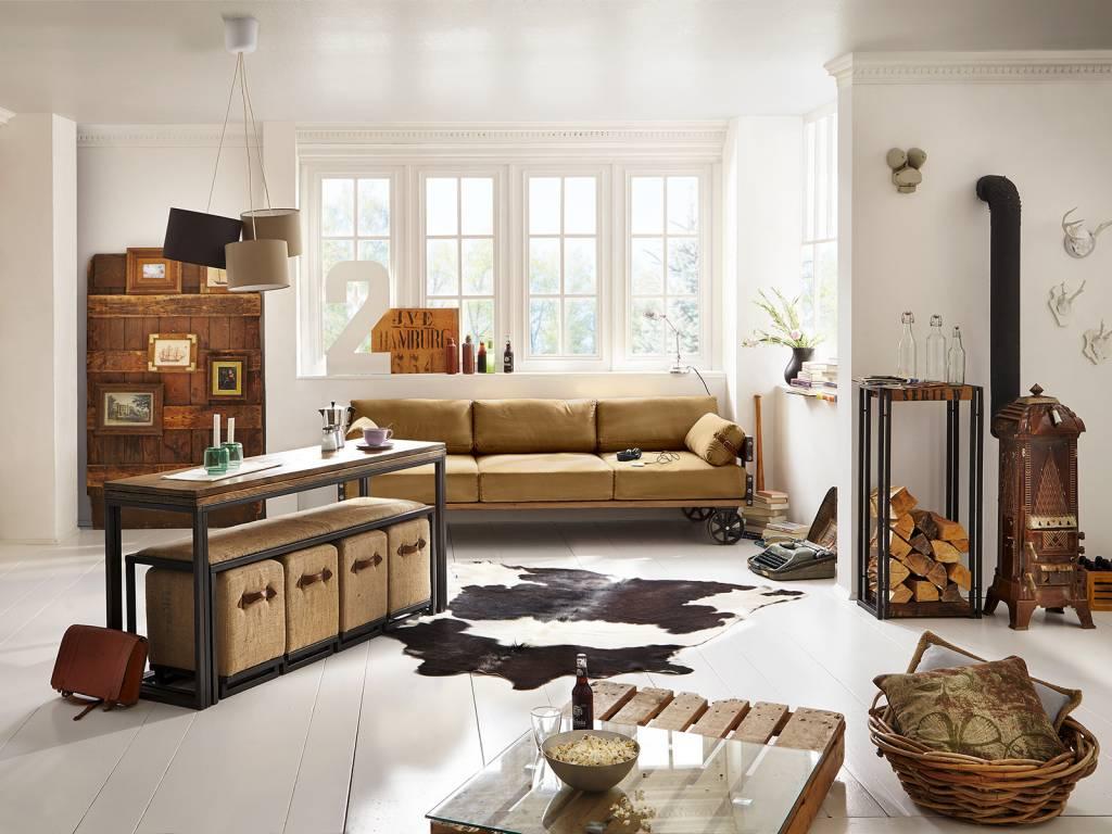 Wohnideen Used Look sofa im industrie design auf rädern massivholzmöbel bei moebelshop68 de
