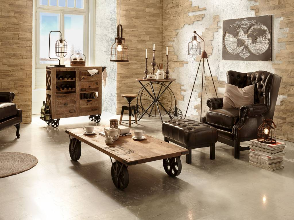 couch tisch massiv holz im industie style auf rollen. Black Bedroom Furniture Sets. Home Design Ideas