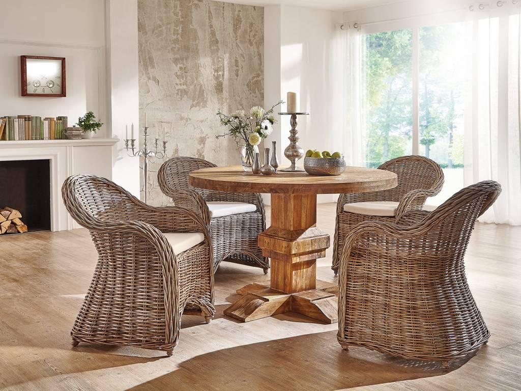 Runder tisch im retro design aus altholz teak for Esstisch altholz