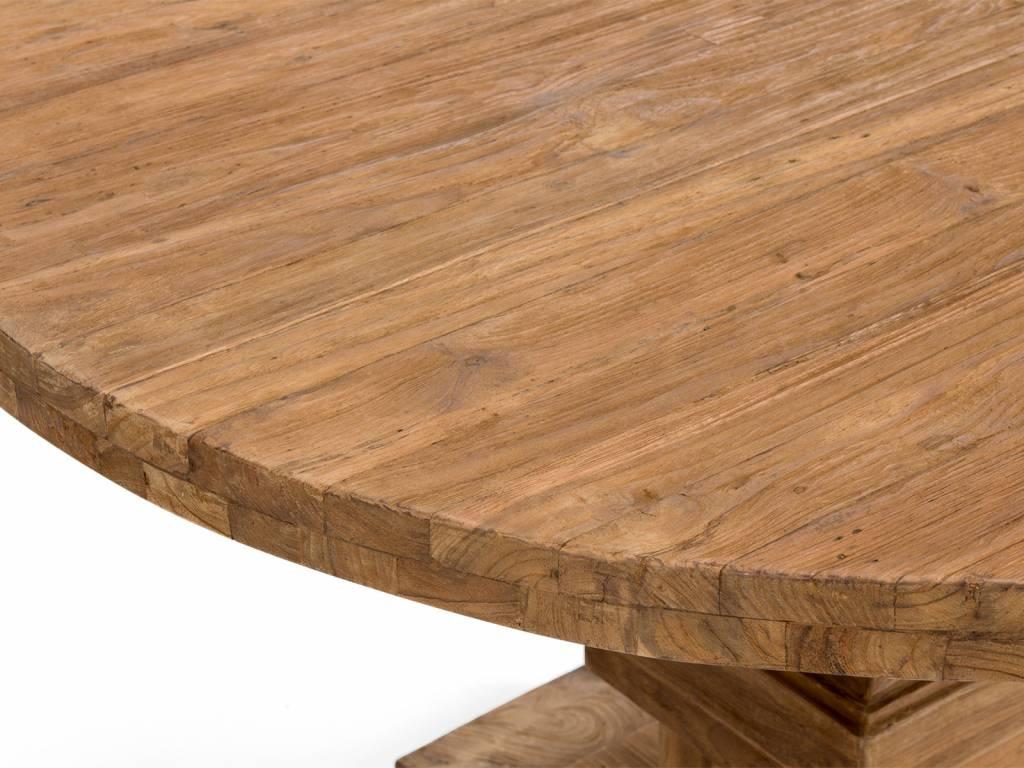 Runder tisch im retro design aus altholz teak for Esstisch teak