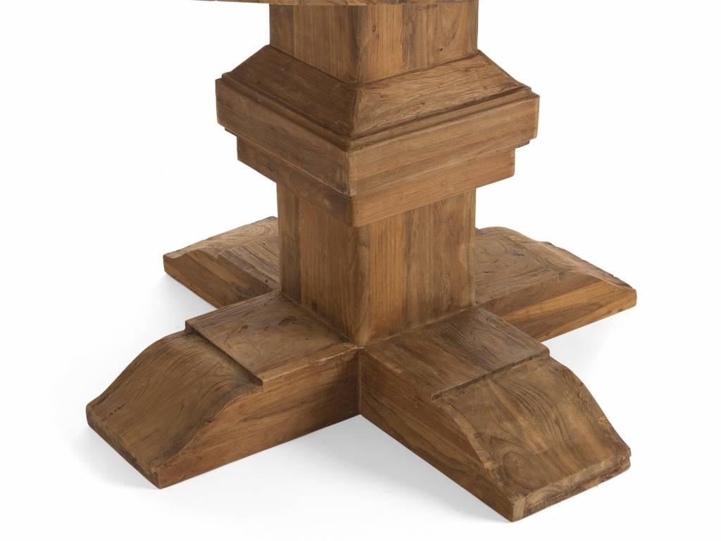 Altholz Esstisch Wohnzimmer Runder Tisch Im Retro Design Aus Teak Massivholzm U00f6bel Bei