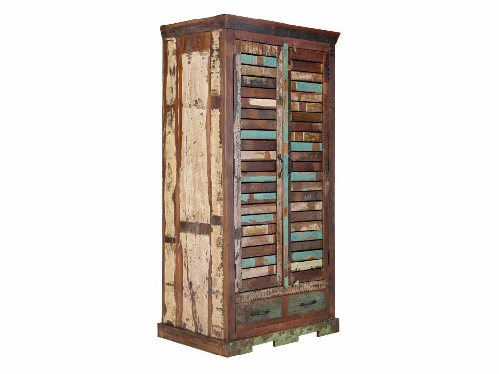 massiv Holz Kleiderschrank Teak im Vintage Style Altholz ...