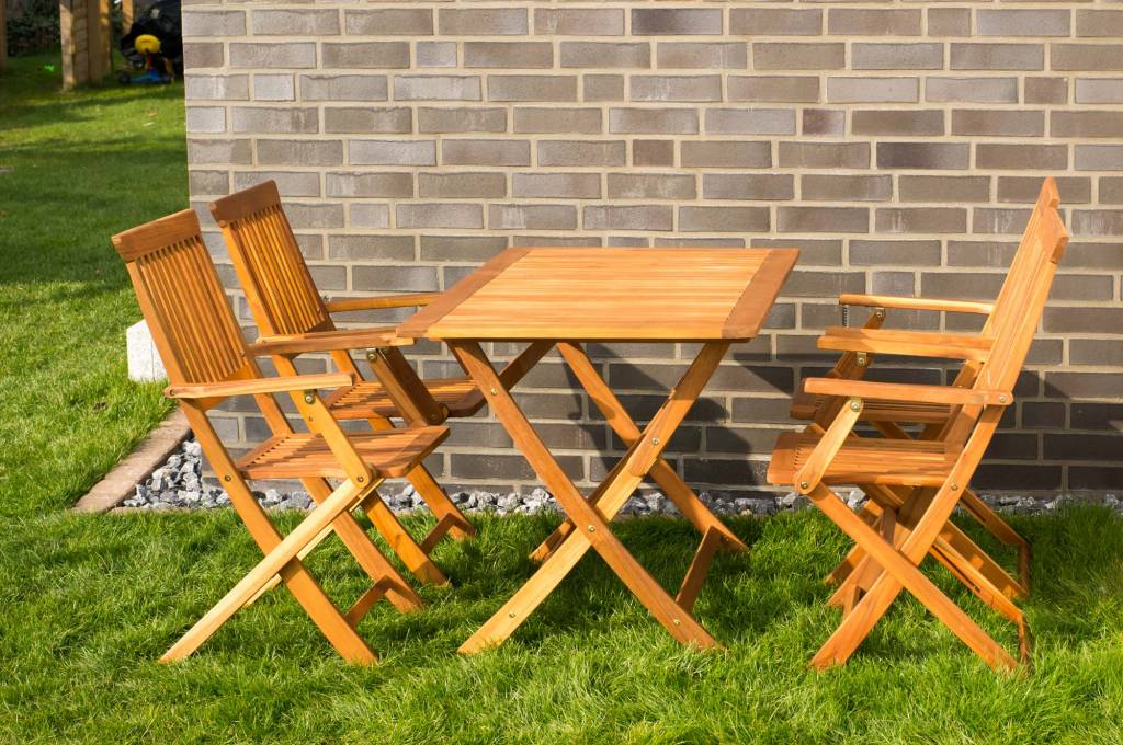 garten m belset gartensitzgruppe mit tisch und 4 st hlen aus holz massivholzm bel bei. Black Bedroom Furniture Sets. Home Design Ideas