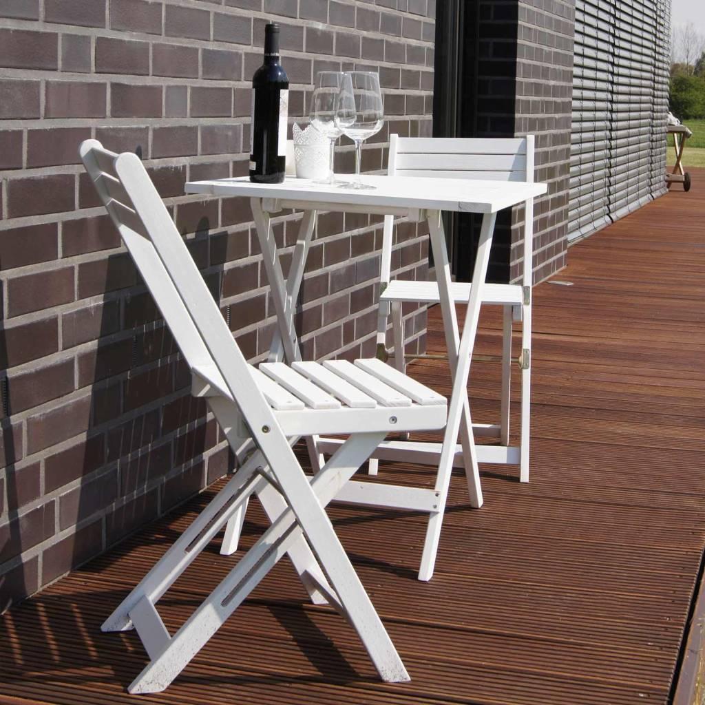 Garten Möbel Set Balkonset Tisch mit 2 Stühle weiß