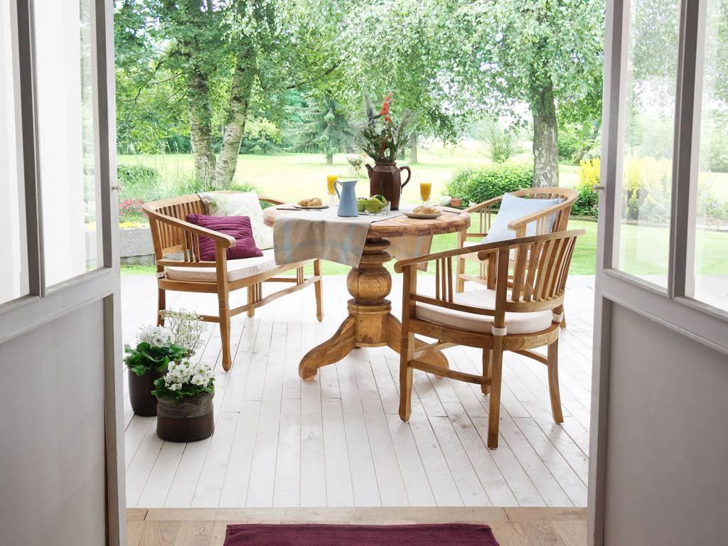 massiv teak tisch rund 100 cm oder 150 cm massivholzm bel bei. Black Bedroom Furniture Sets. Home Design Ideas