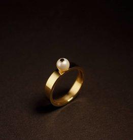 MARGRIET JEWELS Gouden damesring PAREL - Wit