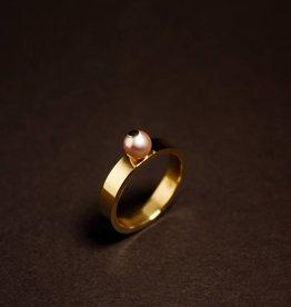 MARGRIET JEWELS Gouden damesring PAREL - Roze