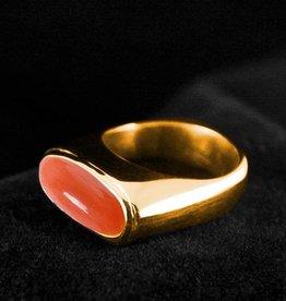 MARGRIET JEWELS Gouden asring GEM - Bloedkoraal