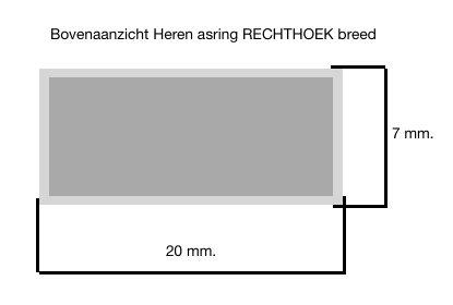 MARGRIET JEWELS Zilveren heren asring RECHTHOEK breed