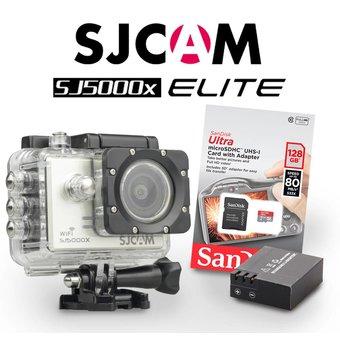 SJCAM SJ5000x Elite Sony IMX078 in Silver, met extra accu en 128Gb Sandisk kaart