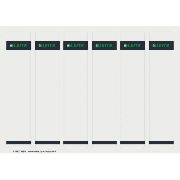 Leitz PC-beschriftbare Ordner-Rückenschilder, selbstklebend, schmal/kurz, DIN A4