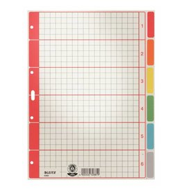 Leitz Karton-Register Blanko, extrastark, mit farbigen Taben, 6 Blatt, DIN A4