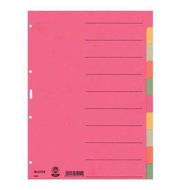 Leitz Karton-Register Blanko, extrastark, mit farbigen Taben, 10 Blatt, DIN A4