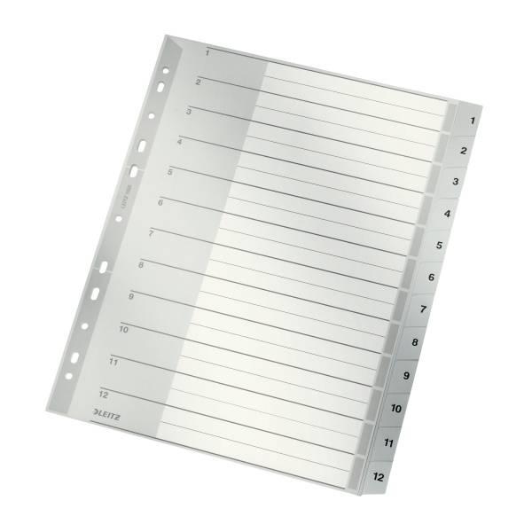 Leitz Plastik-Register Zahlen 1-12, 12 Blatt, DIN A4