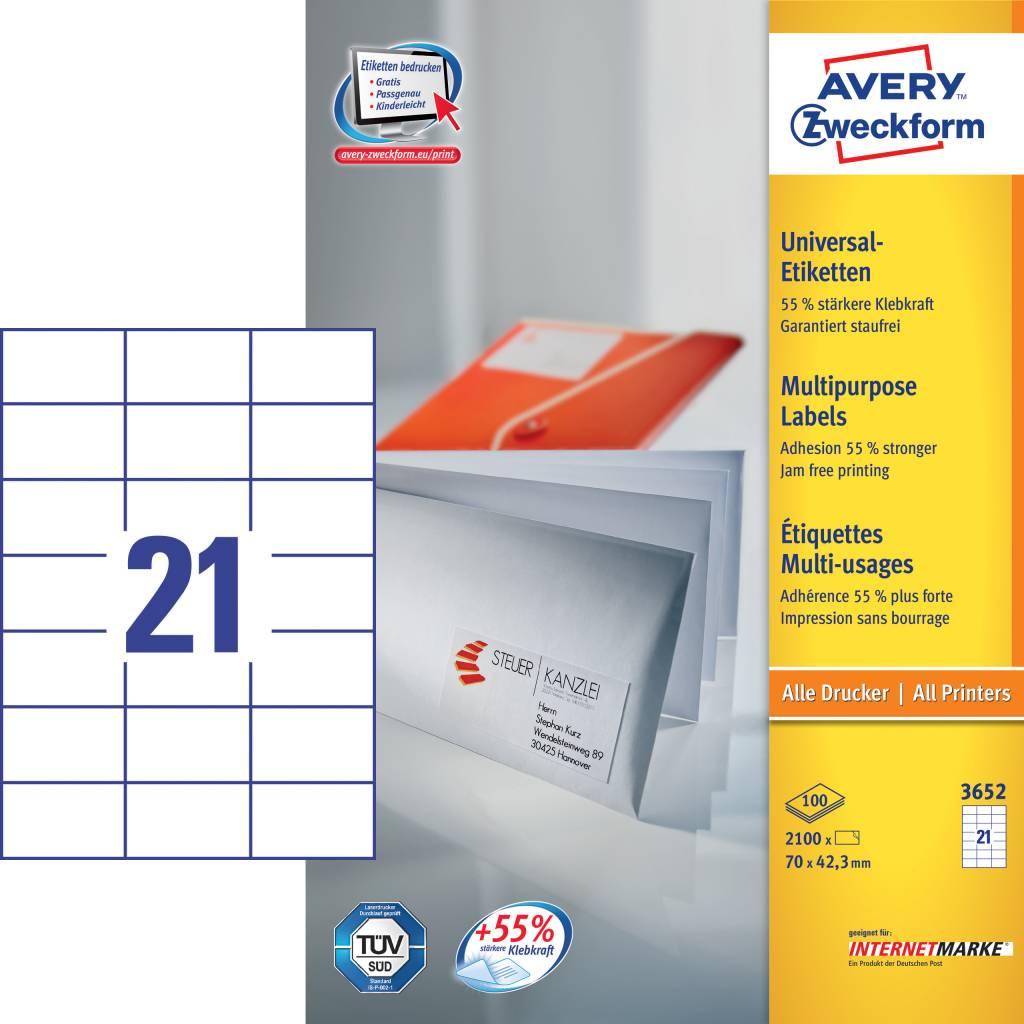 Avery Zweckform Universaletiketten 70 x 37 mm 100 Blatt