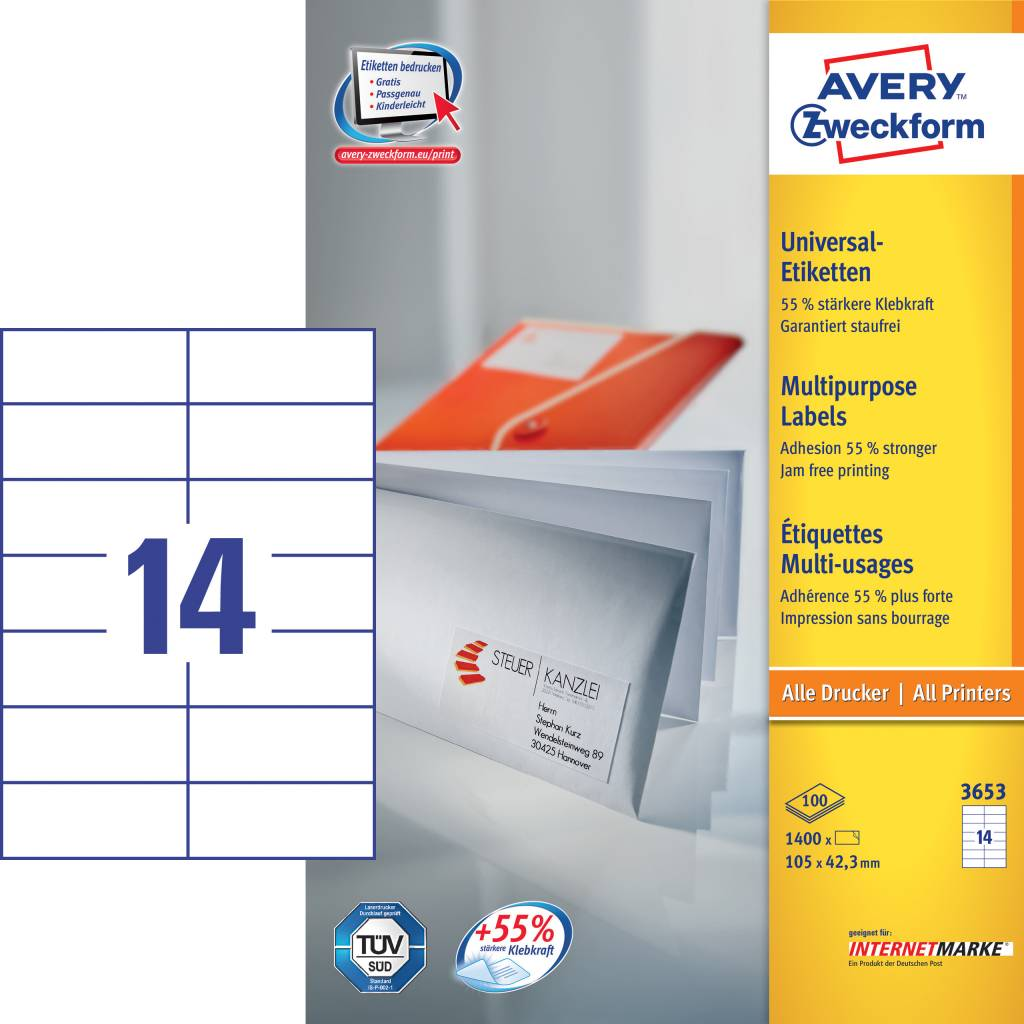Avery Zweckform Universaletiketten 105 x 42,3 mm 100 Blatt
