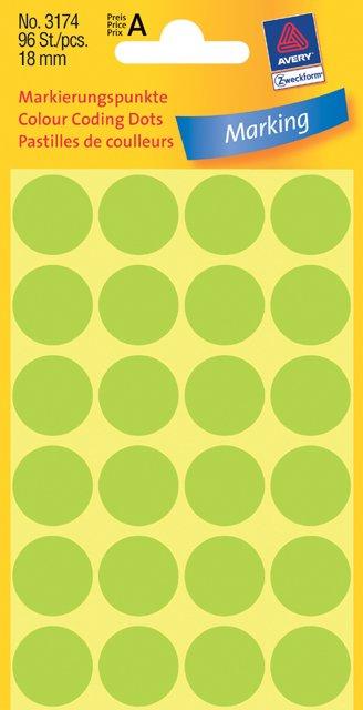 Avery Zweckform Markierungspunkte 18mm, leuchtgrün