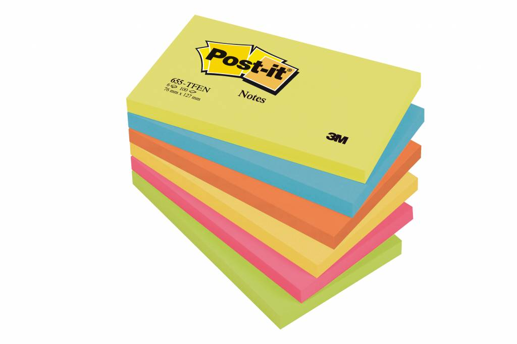 Post-it Haftnotizen Rainbow Active, 127 x 76 mm, 6x 100 Blatt