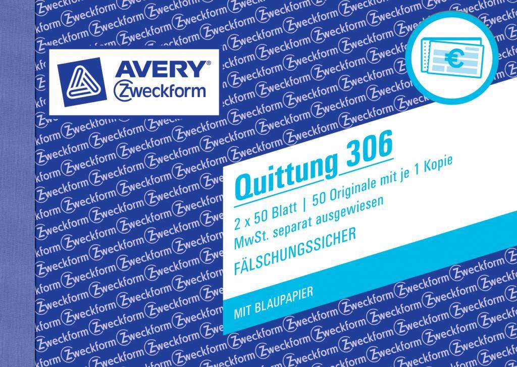 Avery Zweckform Quittung DIN A6 quer 2 x 50 Blatt, 1 Durchschlag, 1 Blaupapier, MwSt separat ausweisbar