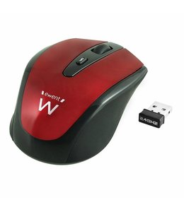 Ewent EW3217 RF Draadloos Optisch 1600DPI Ambidextrous Zwart, Rood muis