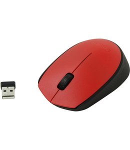 Logitech M171 RF draadloos + USB Optisch 1000DPI Ambidextrous Zwart, Rood muis