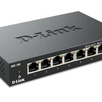 D-LINK D-Link DGS-108 netwerk-switch Unmanaged Zwart