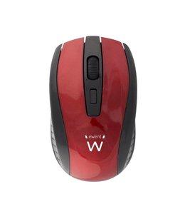 Ewent EW3237 RF Draadloos Optisch 1600DPI Ambidextrous Zwart, Rood muis