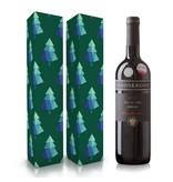 Fles wijn naar keuze + wijnbox kerstbomen