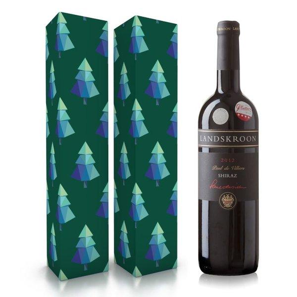 """Fles wijn naar keuze + wijnbox """"kerstbomen"""" prijs vanaf"""