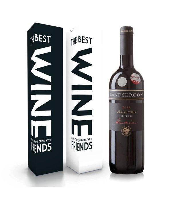 """Fles wijn naar keuze + wijnbox """"the best wine is the one you drink with friends"""""""