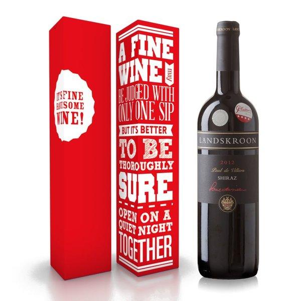 """Fles wijn naar keuze + wijnbox """"A fine wine"""" prijs vanaf"""