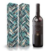 """Fles wijn naar keuze + wijnbox """"Blauw"""""""
