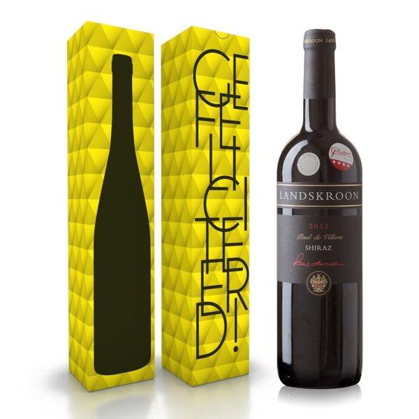 """Fles wijn naar keuze + wijnbox """"gefeliciteerd"""" prijs vanaf"""