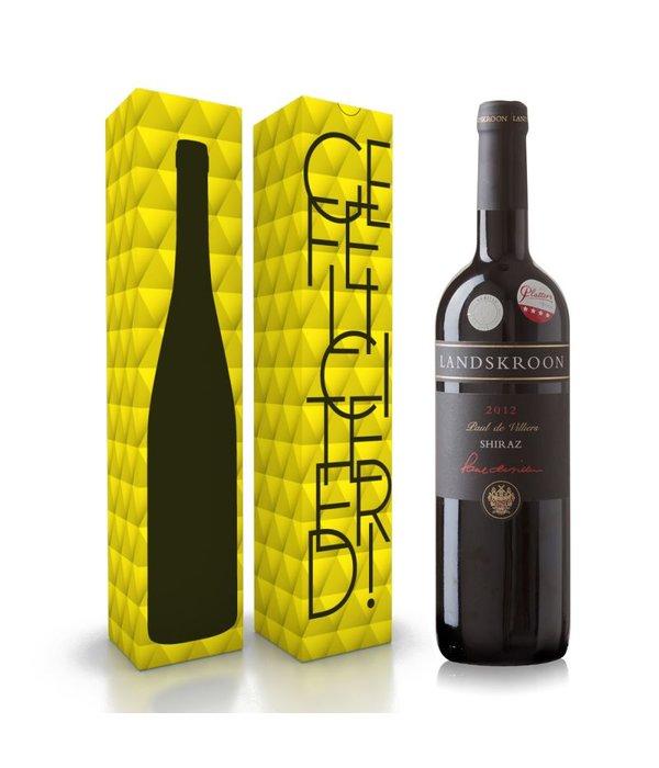 """Fles wijn naar keuze + wijnbox """"gefeliciteerd"""""""