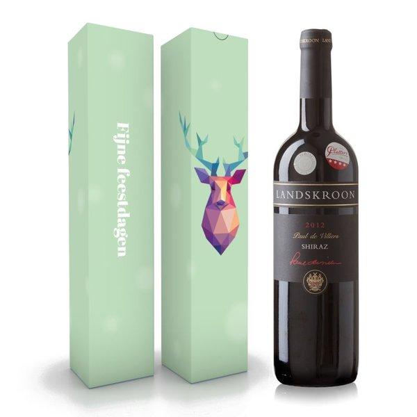 """Fles wijn naar keuze + wijnbox """"Fijne feestdagen"""" prijs vanaf"""