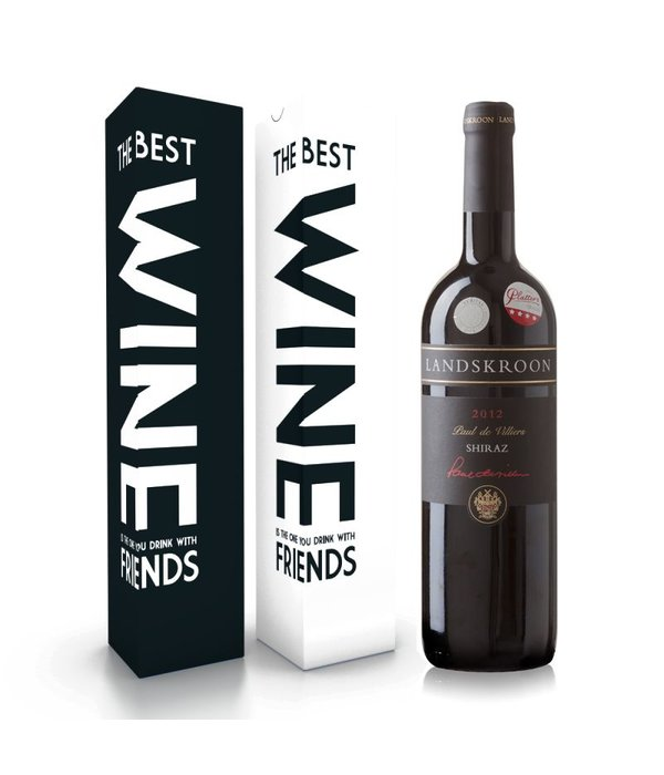 """Wijnbox """"the best wine is the one you drink with friends"""""""