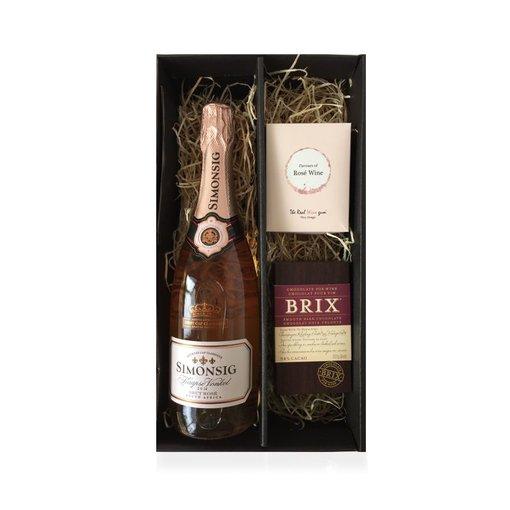 Cadeaubox Kaapse Vonkel Rosé Brut, chocolate & sweets