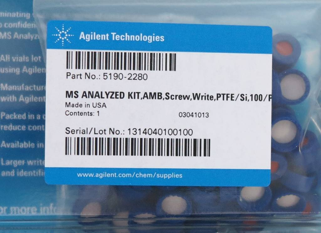 Agilent Technologies 2 ml Autosampler Vials: Agilent MS Analyzed Kit 5190-2280
