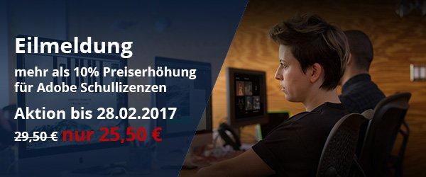 Adobe Preiserhöhung + Aktionspreis bis 28.02.2017