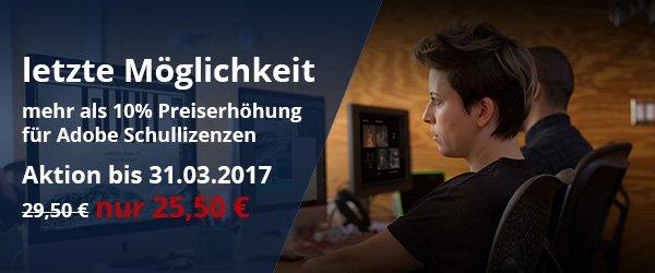 Adobe Preiserhöhung + Aktionspreis bis 31.03.2017